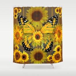 SUNFLOWER BOTANICALS YELLOW MONARCH BUTTERFLY Shower Curtain