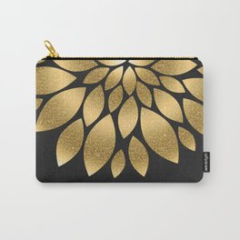 Pretty gold faux glitter abstract flower illustration Carry-All Pouch