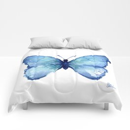 Blue Butterfly Watercolor Comforters