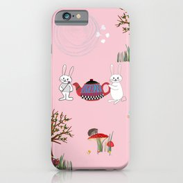 Alice's Adventures in wonderland pattern pink background iPhone Case