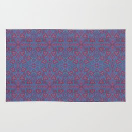 Pink berries, bohemian style, floral pattern, arabesque in blue and pink colours Rug