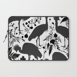 Black crowned crane with grass and flowers black silhouette Laptop Sleeve