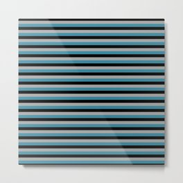 Stripe Grey Teal Black Metal Print