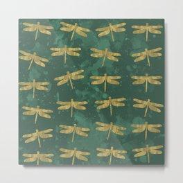 Golden Dragonflies Metal Print