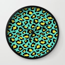 Leopard print neon green and yellow Wall Clock