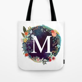 Personalized Monogram Initial Letter M Floral Wreath Artwork Tote Bag