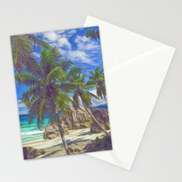 La Digue beach Stationery Cards