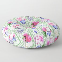 Ginger Jar Peonies on Green Trellis Floor Pillow