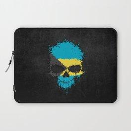 Flag of Bahamas on a Chaotic Splatter Skull Laptop Sleeve
