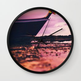 Thai longtail boat on the beach Wall Clock
