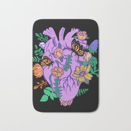 Pastel Goth Anatomical Heart Blooming Flowers Bath Mat