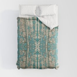 Rustic Wood Turquoise Weathered Paint Wood Grain Comforters