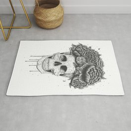 Skull with flowers Rug