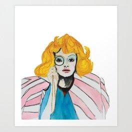Yellow hair and pink jacket Art Print