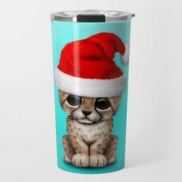 Christmas Cheetah Wearing a Santa Hat Travel Mug