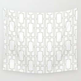 Simply Mid-Century Retro Gray on White Wall Tapestry
