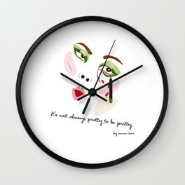 """It's not always pretty to be pretty """"Face No.2"""" Wall Clock"""