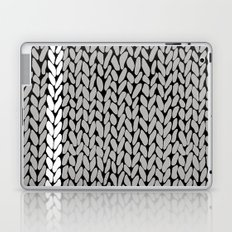 Grey Knit With White Stripe Laptop & iPad Skin