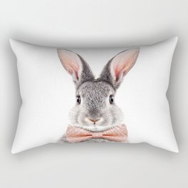 Baby Rabbit, Grey Bunny With Bow Tie, Baby Animals Art Print By Synplus Rectangular Pillow