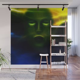 Green Face from Outer Space Wall Mural