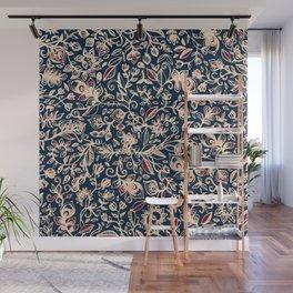 Navy Garden - floral doodle pattern in cream, dark red & blue Wall Mural