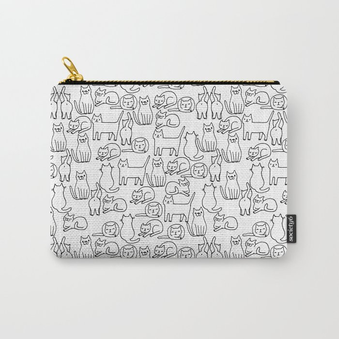 Funny sketchy white kitty cats Carry-All Pouch