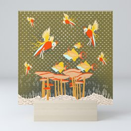 Birds over fishes over mushrooms ...who will win ? Mini Art Print