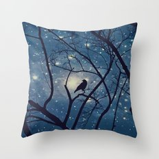 Moon light Crow Throw Pillow