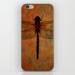 Dragonfly On Orange and Green Background iPhone Skin