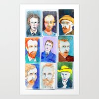 Van Gogh's Self Portraits by Lynne Holyoke 3 Art Print
