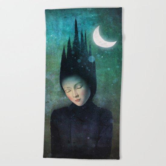 Moonlit Night Beach Towel