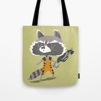 rocket raccoon Tote Bags featuring Rocket Raccoon by Rod Perich