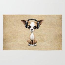 Cute Chihuahua Puppy Dog Wearing Headphones Rug