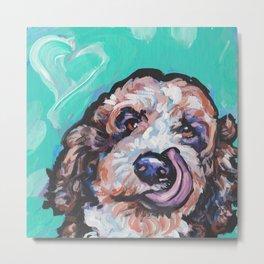 Doodle Portrait Fun Dog bright colorful Pop Art Paintingby LEA Metal Print