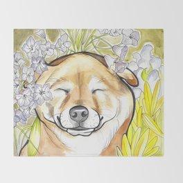 Jay Jay the happy Shiba Throw Blanket