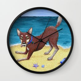 Red Dog Playing Wall Clock