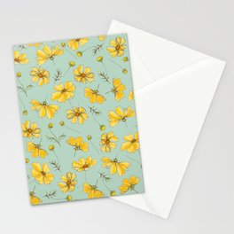 Yellow Cosmos Flower Pattern, Teal Stationery Cards