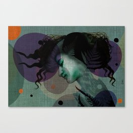 """""""The Girl and the Moon Burlap Texture"""" Canvas Print"""