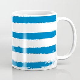 Nautical Blue STRIPES Handpainted Brushstrokes Coffee Mug