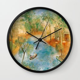 Idyllic Paradise, Two Streams Converging )Río Bravo del Norte) landscape painting by O. Sachoroff Wall Clock