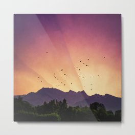 pink skies and purple mountains Metal Print