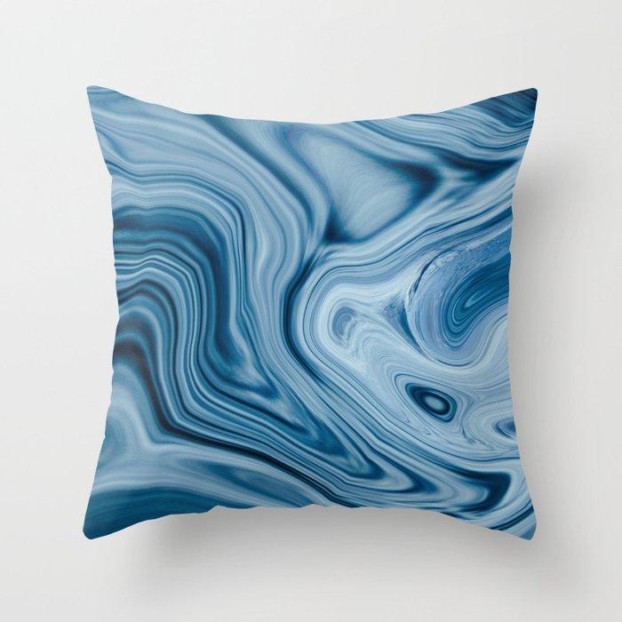 Splash of Blue Swirls, Digital Fluid Art Graphic Design Throw Pillow