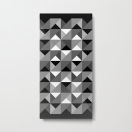 Origami Geo Tile Black-and-white Metal Print