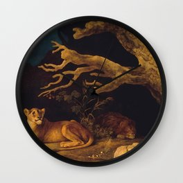 Lion and lioness - George Stubbs - 1771 Wall Clock