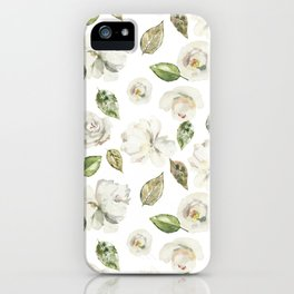 Green brown white watercolor modern floral leaves iPhone Case