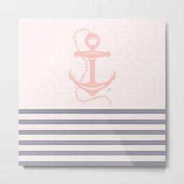 AFE Pink Nautical Anchor  Metal Print