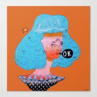 kim sy ok Canvas Prints featuring ok by Kira Leigh