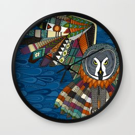 night owl blue Wall Clock
