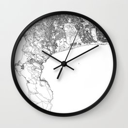 Cape Town White Map Wall Clock