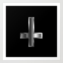 An inverted cross- The Cross of Saint Peter used as an anti-Christian and Satanist symbol. Art Print